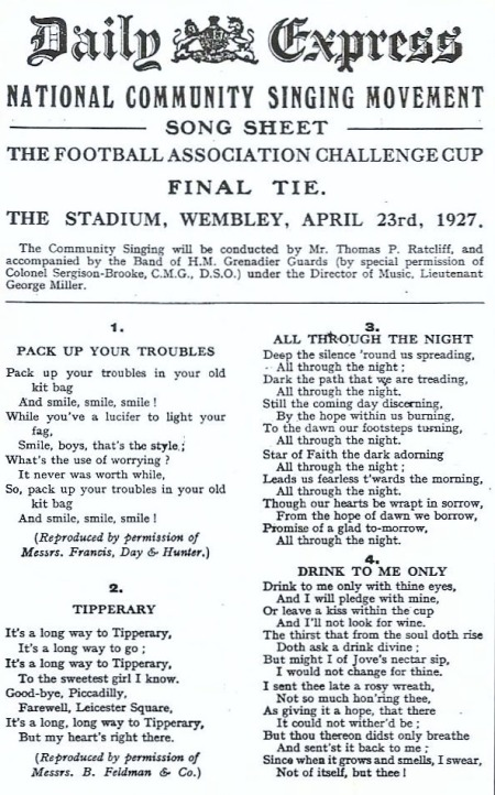 FA Cup Song Sheet 1927 001