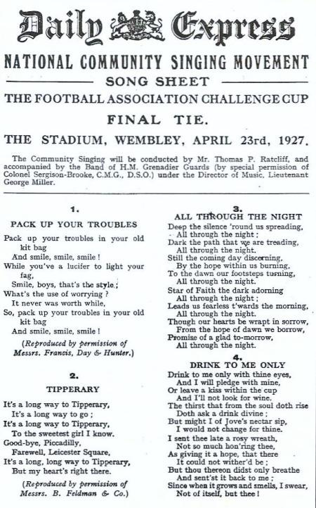 FA Cup Song Sheet 1927 001