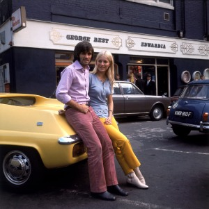 (L-R) Manchester United's George Best and his fiancee Eva Haraldsted outside his clothing boutique on Manchester's Bridge Street